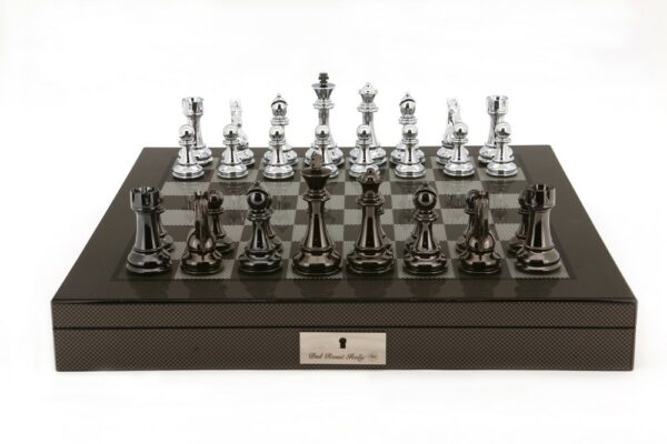 Dal Rossi Chess Set - Silver and Titanium Pieces on Polished Carbon Fibre Chess Board