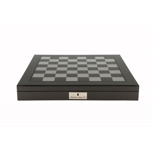 Dal Rossi Chess Set - Polished Carbon Fibre Chess Board