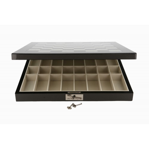 Dal Rossi Chess Set - Polished Carbon Fibre Chess Board (Storage)