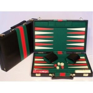 Black Vinyl Backgammon Set 38cm