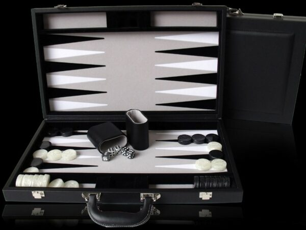 Dal Rossi Black PU Leather Backgammon 9
