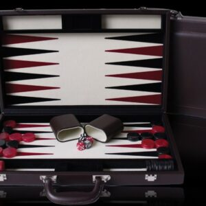Dal Rossi Brown PU Leather Backgammon 15""