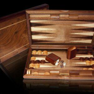 """Dal Rossi Walnut Burl Quality Backgammon 19"""""""