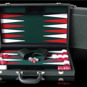 Green PU Leather Backgammon 18""