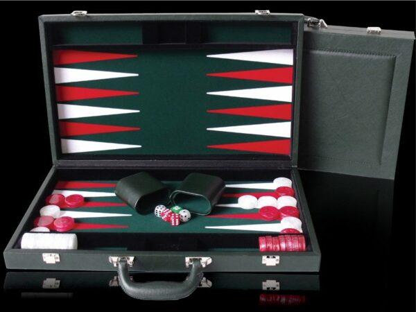 "Green PU Leather Backgammon 18"""