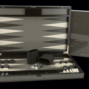 """Dal Rossi Italy Carbon Fibre Finish Backgammon 15"""""""