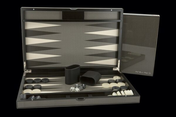Dal Rossi Italy Carbon Fibre Finish Backgammon 15""