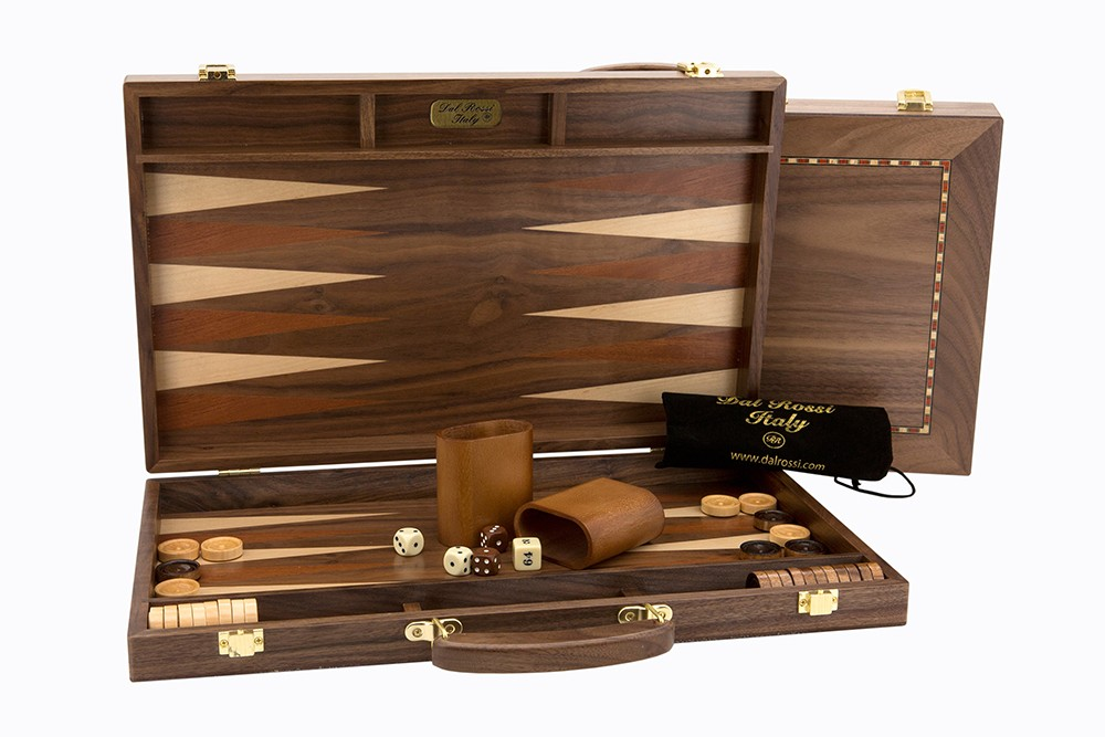 Dal Rossi Backgammon, walnut With Handle, 18""